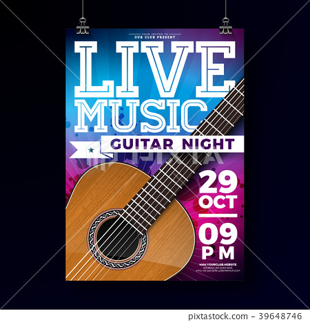 Live music flyer design with acoustic guitar on 39648746