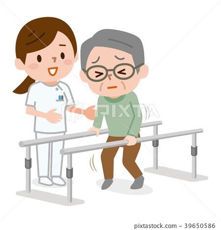 步态训练 老人 矢量 39650586