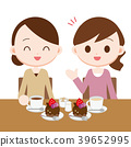 Tea party with cake with mom friend 39652995