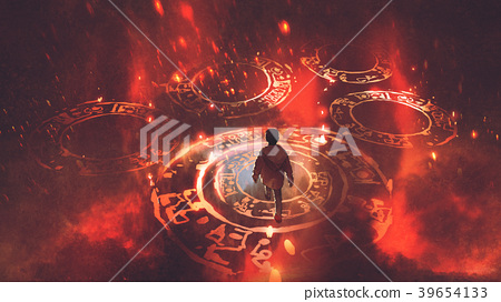the boy walking on magic circles 39654133