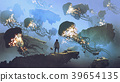flock of jellyfishes flying in the sky 39654135