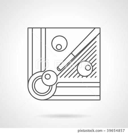 Billiard balls and cue flat line vector icon 39654857