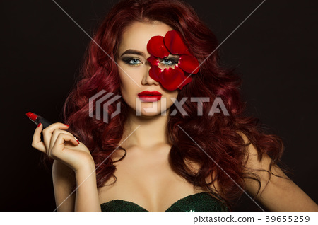 Fashion beautiful woman with creative makeup and 39655259