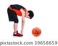 Asian basketball player bending down stretching. I 39656659