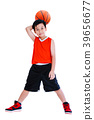 Asian child  with ball in hand. Isolated on white 39656677