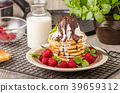 American pancakes with icecream and chocolate 39659312