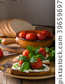 Bread cheese spread baked tomato 39659697