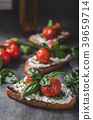 Bread cheese spread baked tomato 39659714