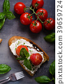 Bread cheese spread baked tomato 39659724