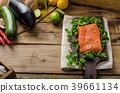 Fresh salmon with salad 39661134