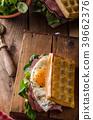 Waffles sandwich with eggs 39662376