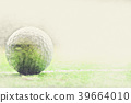 Golf ball on watercolor painting background. 39664010