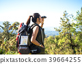 Women hiker with backpack checks map to find  39664255