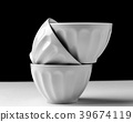 White bowl isolated on black and white background  39674119