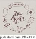 drawn, food, hand 39674931