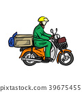 delivery man send order with motorcycle vector  39675455