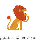 Cute lion cartoon character sitting and yawning 39677734