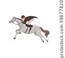 Jockey man riding horse, equestrian professional 39677820