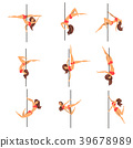 Young pole dance women set, beautiful pole dancers 39678989
