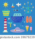 Vector summer colorful illustration, travelling 39679239
