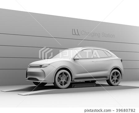 배터리 교체하는 전기 SUV의 클레이 렌더링 이미지 39680782