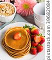 pancake, oatmeal, strawberry 39682084