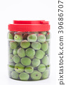 Canned Green plum in a glass jar  39686707
