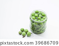 Canned Green plum in a glass jar  39686709