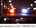 Police car at night, lights flashing in Seoul 39686761