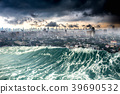 Nature disaster city destroyed by Tsunami waves 39690532
