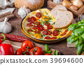 Omelette with chorizo and herbs 39694600