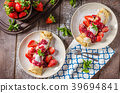 Pancakes with strawberries 39694841