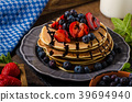 American pancakes with berries and chocolate 39694940