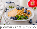 American pancakes with blueberries 39695127