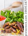 Chicken teriyaki salad on tortilla 39695387