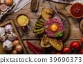 Beef tartare dish 39696373