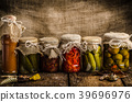 Cooked vegetables, pickles, homemade ketchup 39696976