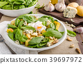 Spinach salad with egg benedict 39697972
