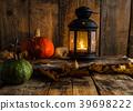 Halloween pumpkin moody picture with lantern 39698222
