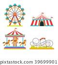 Amusement park vector illustration of attractions 39699901