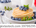 American pancakes with blueberries 39700295