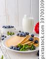 pancakes, pancake, blueberries 39700309