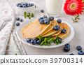 pancakes, pancake, blueberries 39700314