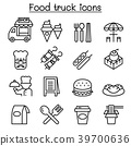 Food truck icon set in thin line style 39700636