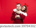 Christmas Concept - Romantic couple in a christmas 39704302