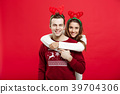 Christmas Concept - Romantic couple in a christmas 39704306