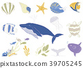 필기 바람 바다 생물 일러스트 세트 39705245