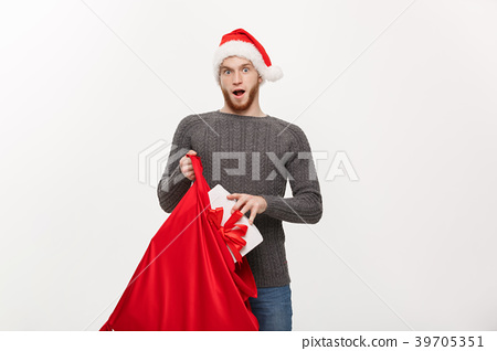 Christmas Concept - Young happy beard man excite 39705351