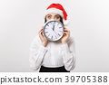 Time management concept - Young business woman 39705388
