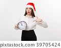 Time management concept - Young business woman 39705424